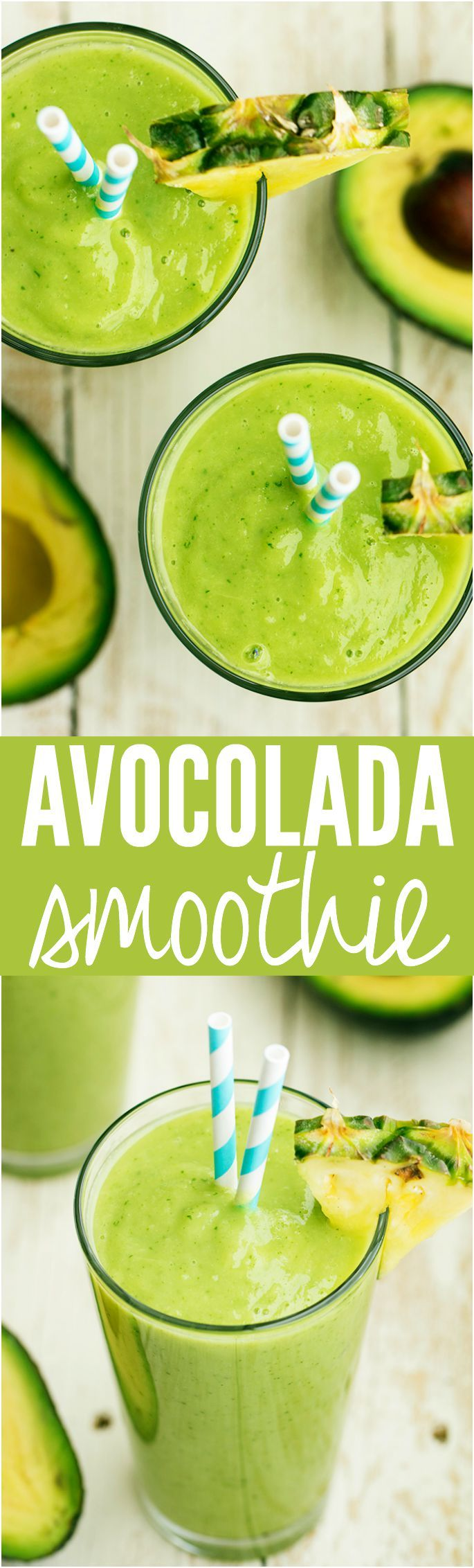 Creamy Avocolada Smoothie - Has avocado, spinach, kale, pineapple, coconut and lime and is the smoothest BEST smoothie you will have!