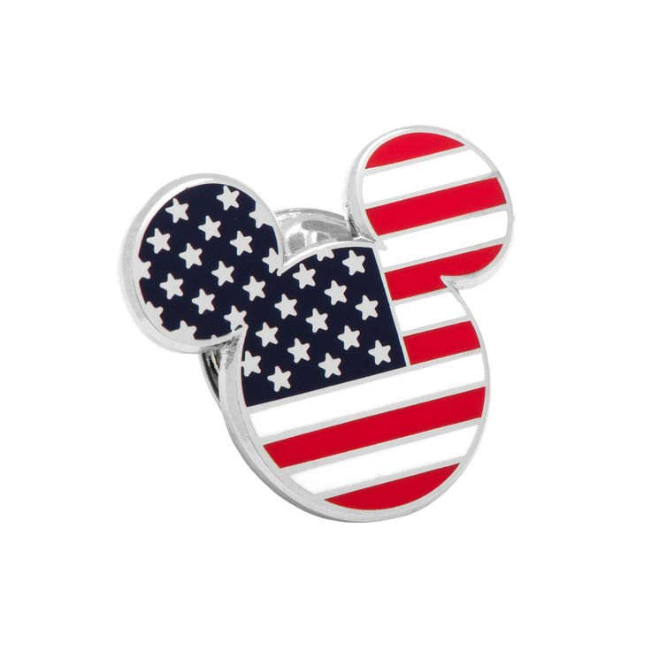 Disney's Mickey Mouse Head American Flag Lapel Pin, Men's, multicolor
