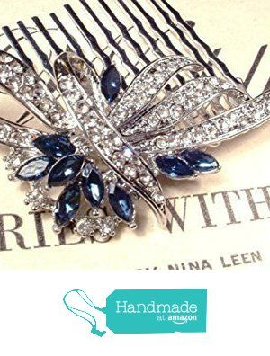 Sapphire Blue Crystal Wedding Hair Comb, Navy & Clear Rhinestone Bridal Hairpiece, Great Gatsby Art Deco Silver 1920s Accessory Something Blue Headpiece from AmoreTreasure https://www.amazon.com/dp/B016NDSJNW/ref=hnd_sw_r_pi_dp_KS53ybB9H18VV #handmadeatamazon