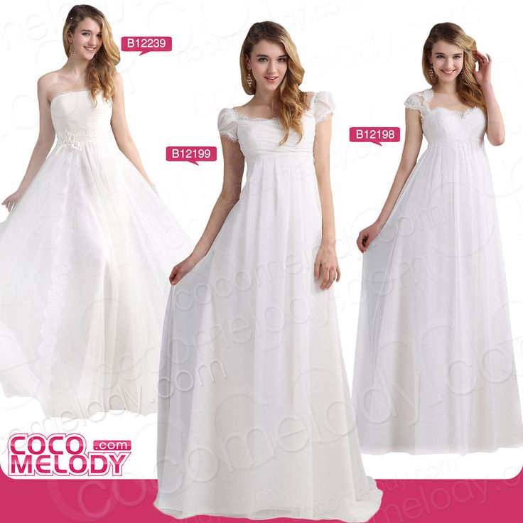 3Modell Weiss/Elfenbein Umstandsbrautkleider Hochzeitskleid für Schwangere 36 38  | eBay