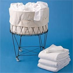 Collapsible French Wire Laundry Basket with Wheels