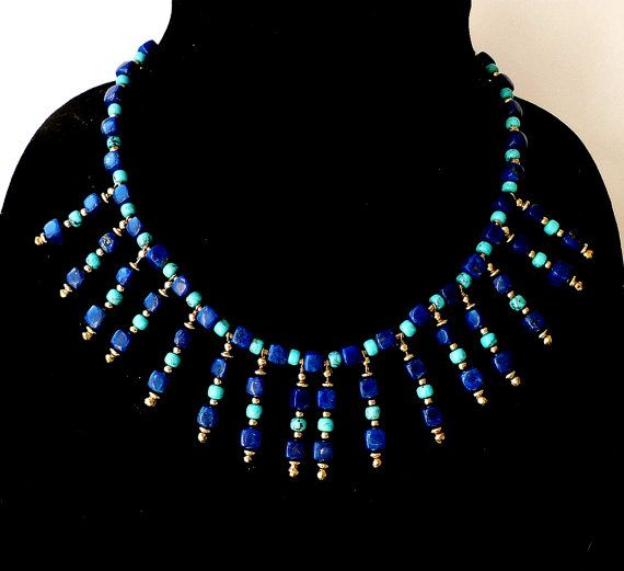 """Cleopatra Collar Statement Necklace Genuine  Lapis Lazuli and Turquoise AAA Gemstones Bib Handcrafted: """"Rhapsody in Cubes"""". $475.00, via Etsy."""