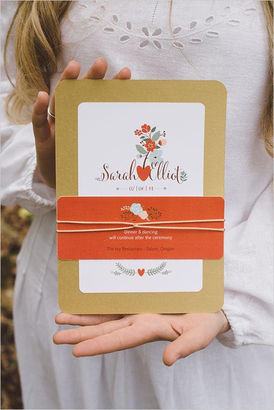 Boho wedding: fun and sweet orange wedding stationery