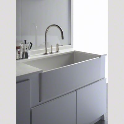 kallista for loft apron front kitchen sink with one two hole kitchen faucet and soap