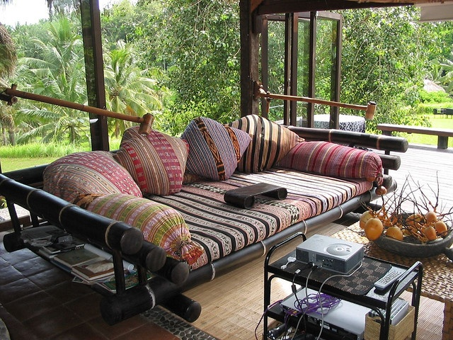 sofa with batik/ikats mix