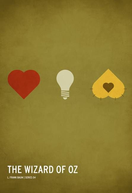 """""""The Wizard of Oz Kid Friendly"""" by Christian Jackson, Chicago area // A heart, a brain, and some courage.The classic children's stories that many of us grew to know and love have been simplified into hyper-minimalist, iconographic posters by up and coming premier designer Christian Jackson. Inspired by his new fatherhood, Christian has capture... // Imagekind.com -- Buy stunning fine art prints, framed prints and canvas prints directly from independent working artists and photographers."""
