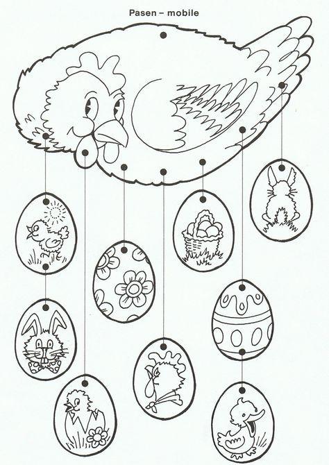 Mobile (Ne pas oublier le verso) ou coloriage en attendant Pâques