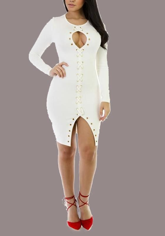 b50fe25a1b499 White Cut Out Lace-up Front Slit Clubwear Party Long Sleeve Midi Dress