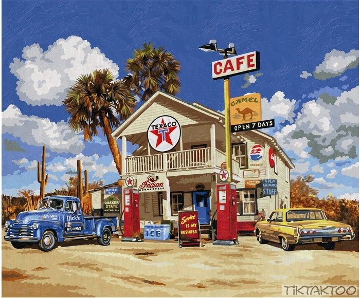 vintage gas stations | Malen nach Zahlen -Old American Gas Station 50x60 cm Schipper ...