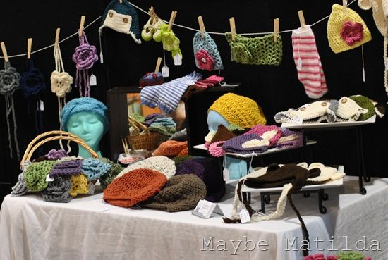 Crochet hats headbands display craft show displays for Best sellers at craft fairs 2016