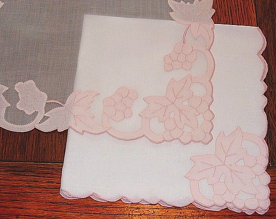 Em's Heart -Vintage Linen Madeira Embroidered Organdy Mats Napkins Set