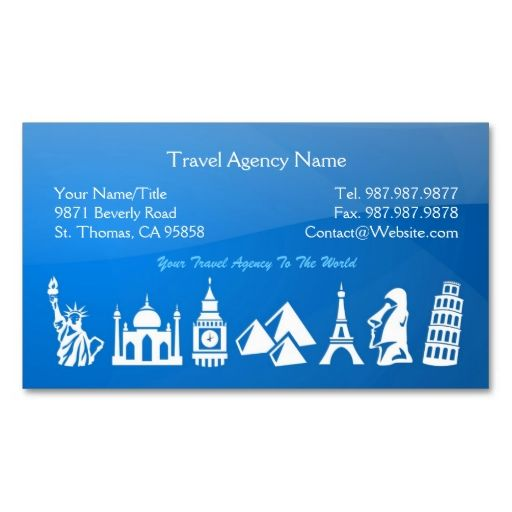 Travel Agent Business Card Examples