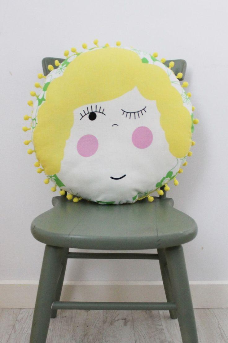 A personal favourite from my Etsy shop https://www.etsy.com/au/listing/249209162/mavis-circular-cushion-with-pom-pom-trim
