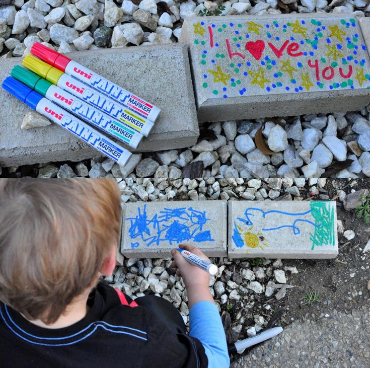 Kids artwork on pavers - love this idea for a play garden
