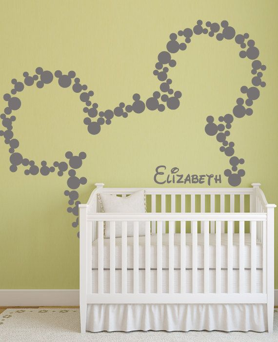 Wall Decal Art Decor Mickey Mouse Baby Name Wall door HappyWallz