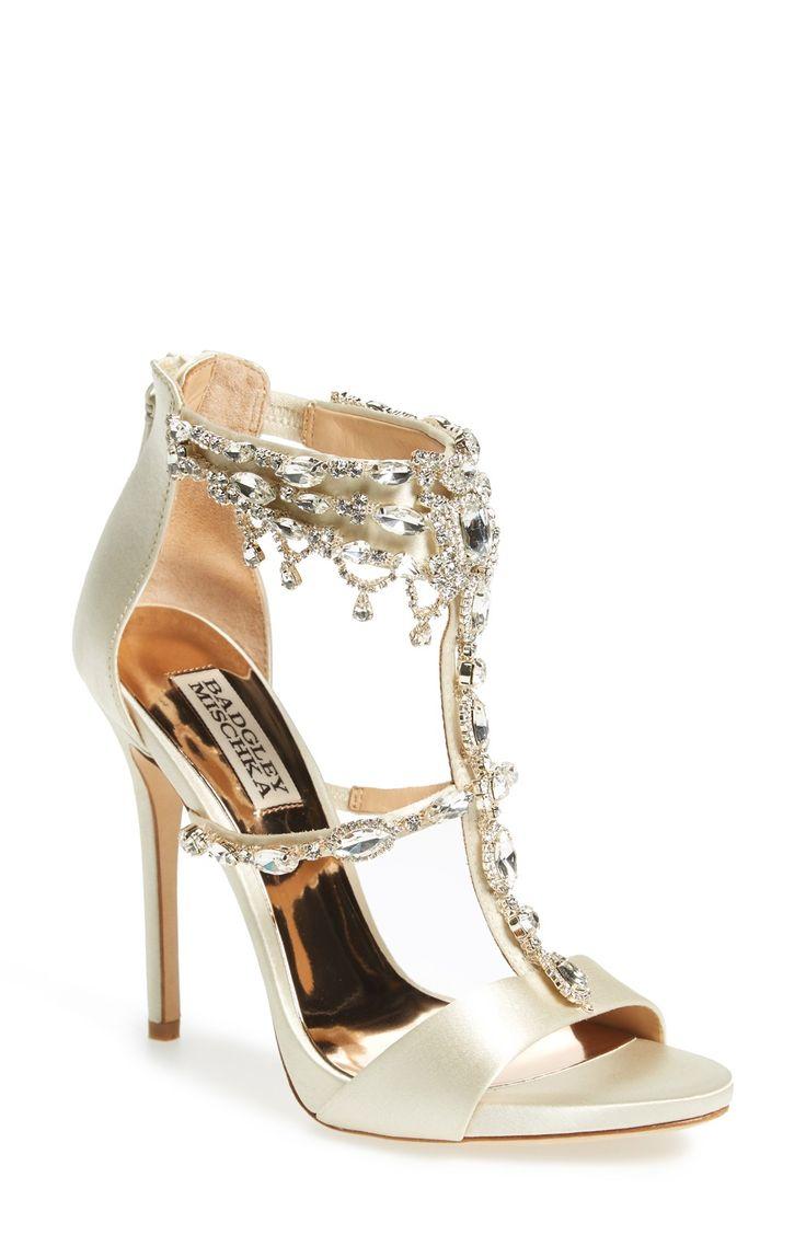 Trending  uDent u Crystal Embellished T Strap Sandal the ultimate designer wedding shoes by Badgley Mischka