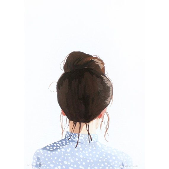 5x7 hair art Top Knot 40 giclee print by ElizabethMayville