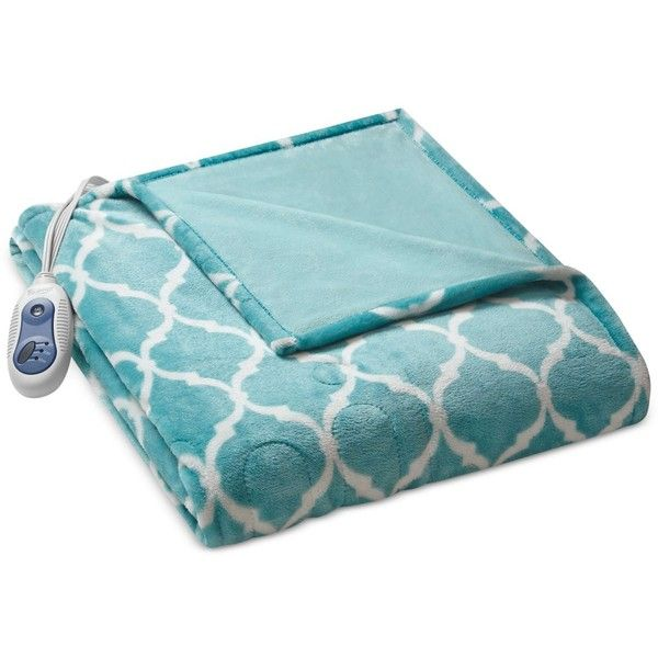 Beautyrest Oversized Ogee Heated Throw (1 510 SEK) ❤ liked on Polyvore featuring home, bed & bath, bedding, blankets, aqua, faux blanket, fleece electric blanket, beautyrest, heated fleece throw and beautyrest electric blanket