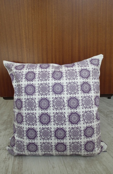 Crystal Bloom - Screen printed - Purple on white cotton/linen www.unwrapped.co.za