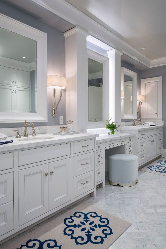classic white bathroom ideas. White And Blue Bathroom Features A His Her Block Print Bath Mats Leading To Washstands Topped With Honed Marble Place Dunder Classic Ideas O