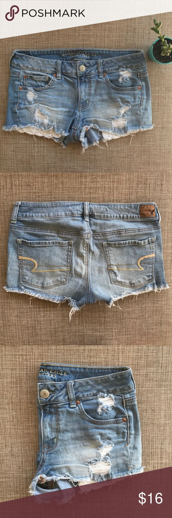 American Eagle Destroyed Denim Shorts Sooooo cute. Super destroyed & feminine detailed shorts by American Eagle. Lots of lovely little distressing details & decorated pockets really play up the lady likeness of these daisy duke style denim shorties! You'll never want to take these off! I promise! ✨ American Eagle Outfitters Shorts Jean Shorts