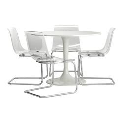 These clear chairs are a fun addition to any dining room set.