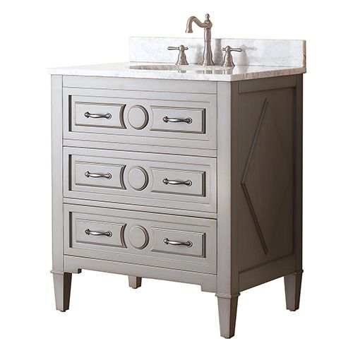 Kelly Grayish Blue 30 Inch Vanity Combo With White Carrera Marble Top Avanity Vanities Bat