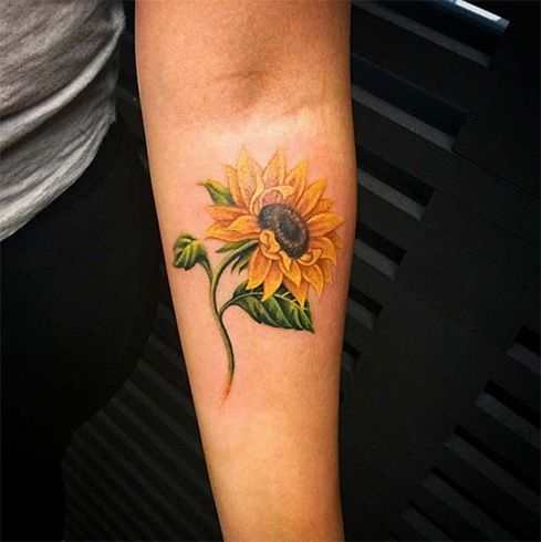 Watercolor Sunflower Tattoo Picture Perfect #TattooIdeasWatercolor