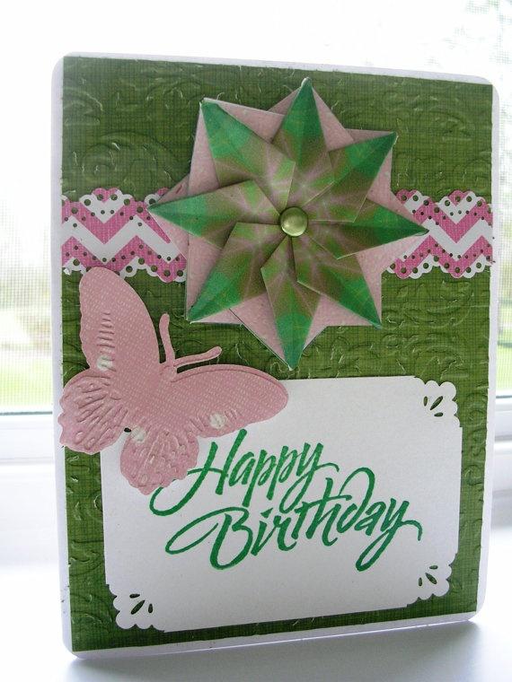 birthday card green  pink origami medallion