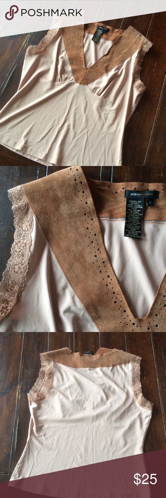 BCBCMaxazaria size L NWOT. Super cute top. 54% rayon, 37% poly, 9% spandex, suede collar. Color is tan/nude/ flesh BCBGMaxAzria Tops Tank Tops
