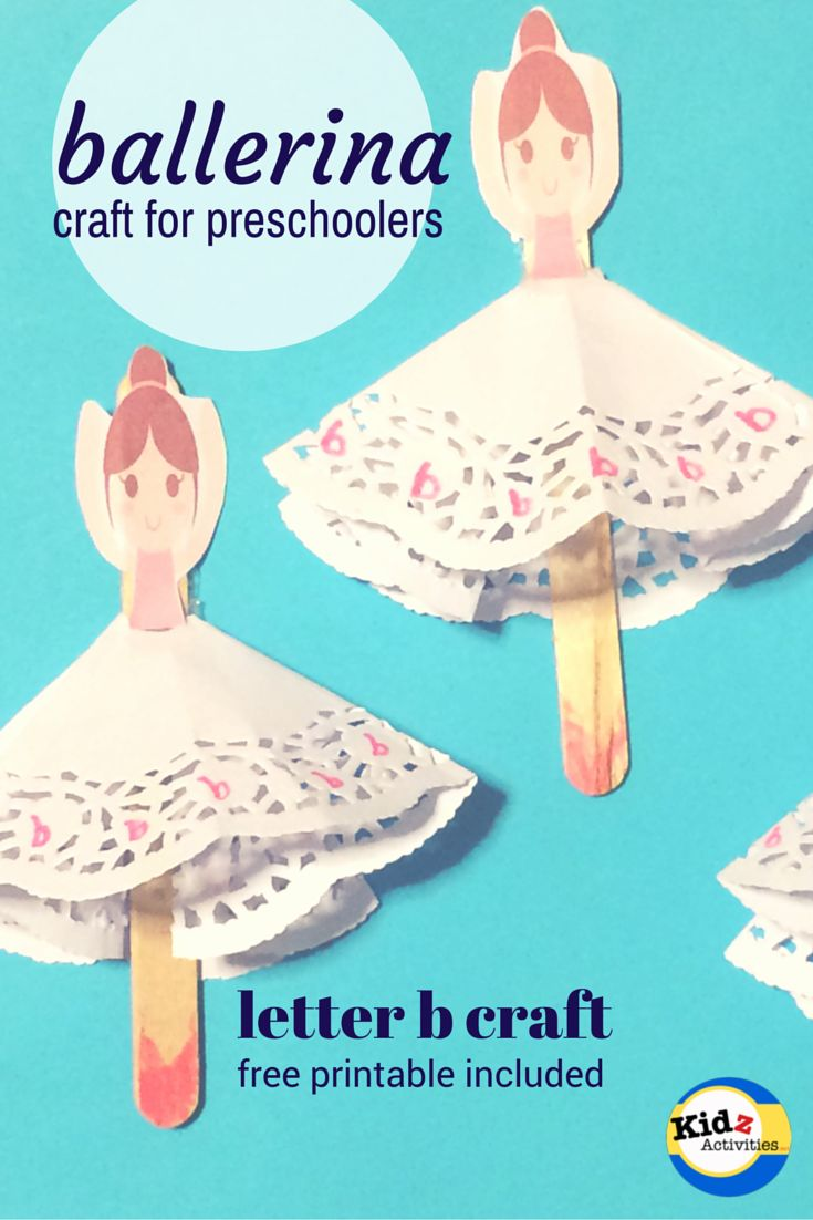 ballerina craft for preschoolers - letter b craft with free printable by Kidz Activities