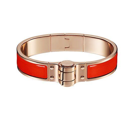Bracelet à charnière uni Braccialetto in smalto tinta unita, fermaglio placcato oro rosa Circonferenza del polso 15,5 cm circa