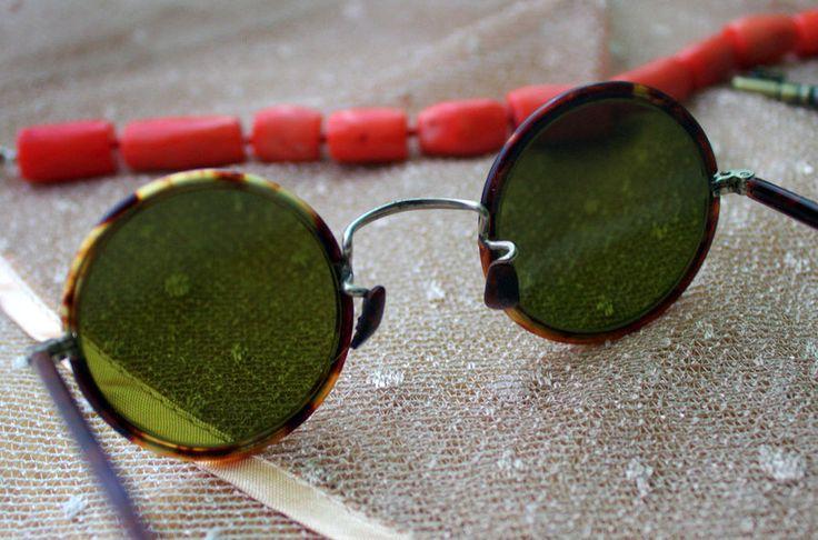 40s New Fashion Retro VTG Bakelite Frame Round GREEN Lens Glasses Sunglasses  #Round