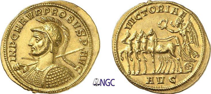 NumisBids: Maison Palombo Auction 15, Lot 70 : 70-Probus (276-282) Aureus - Serdica (276-282) Av. : Buste casqué et...