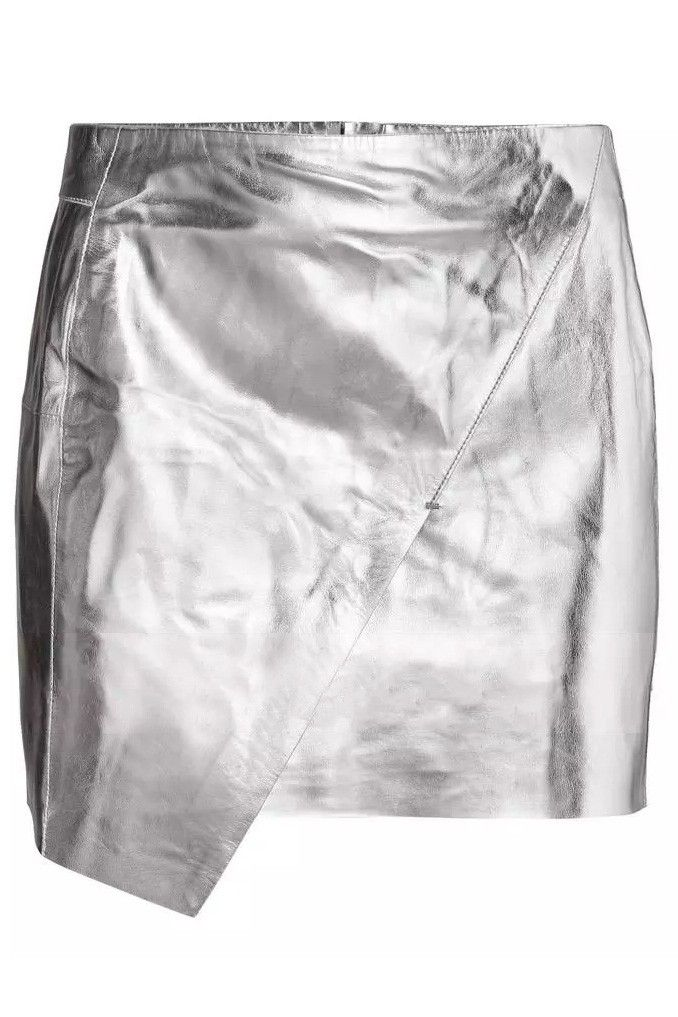 LUCLUC Silver Asymmetrical Zipper Pu Leather Skirt