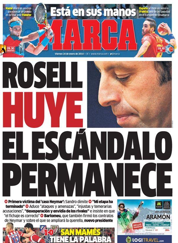 'Rosell huye. El escándalo permanece'   La portada del 24 de enero de 2014