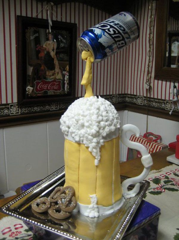 Beer Cake  Cool idea but I would use a beer more to my liking not the swill shown here.