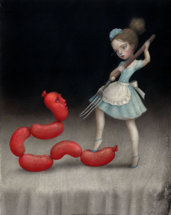Nicoletta Ceccoli's paintings are the visual counterparts of fairy tales. Beautiful, whimsical, and wondrous yet more gruesome than they initially seem.