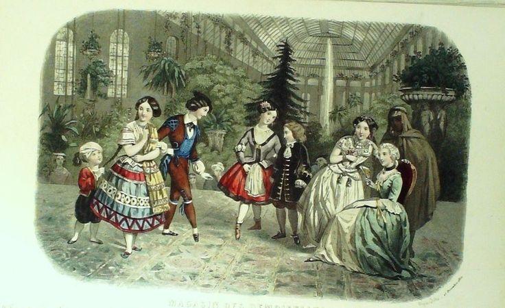GRAVURE de MODE AUTHENTIQUE-M182-MAGASIN DEMOISELLES-COSTUMES D ENFANTS-1850