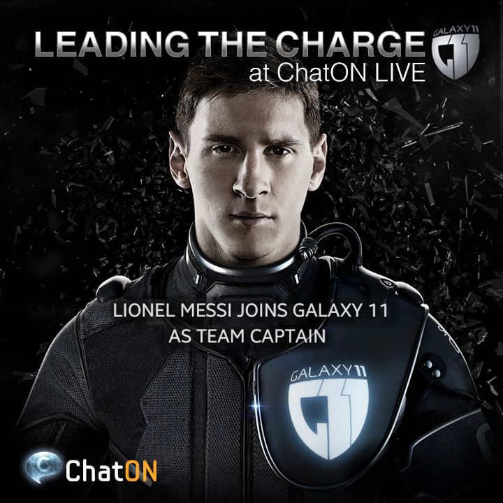 [ChatON LIVEpartner] GALAXY11 Humans vs. Aliens.  Aliens have challenged Earth to one ultimate football game,  and Lionel Messi joins GALAXY 11 as a team captain to save us from aliens. Stay tuned at GALAXY11 of the ChatON LIVE.   [ChatON LIVEpartner] GALAXY11 인류 VS 에일리언 에일리언에 대항할 인류의 캡틴으로 라이오넬 메시가 합류하게 되었습니다.  인류를 구하기 위한 에일리언과의 대 승부! ChatON Live에서 실시간으로 GALAXY11의 소식을 받아보세요.