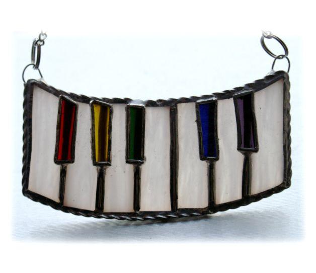 Piano Suncatcher Stained Glass  Keyboard Keys Music Handmade 006 £11.50