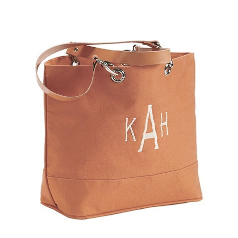 Suzanne Kasler Canvas Tote With Leather Handles