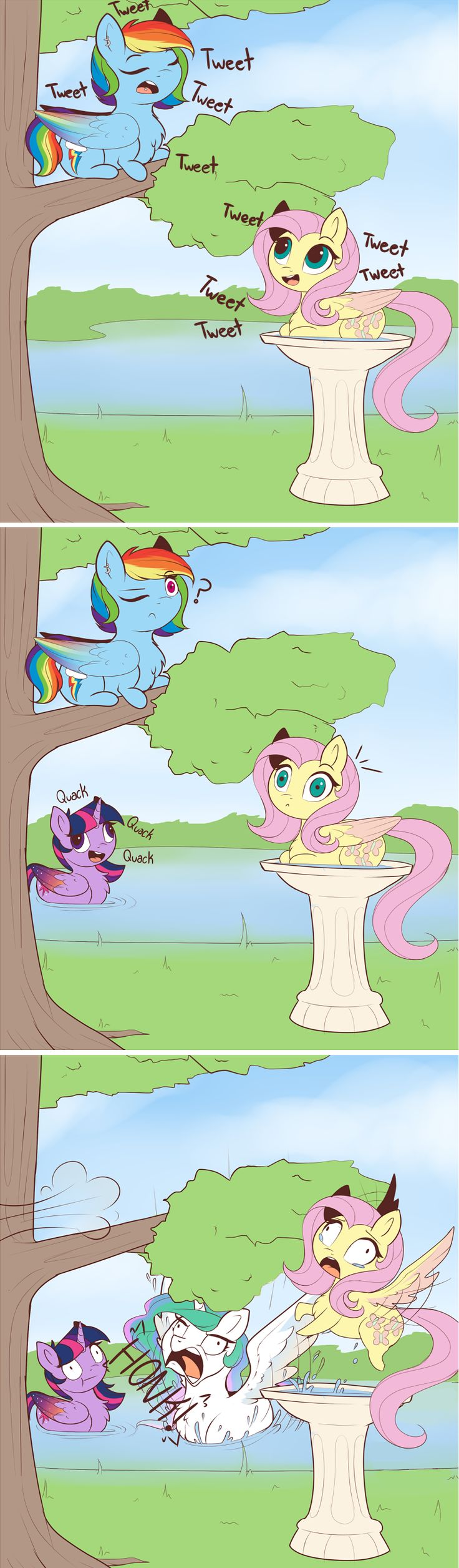 Rainbow dash: Tweet tweet tweet   Fluttershy: Tweets back at Rainbowdash   Twilight: *Comes to the pond* Quack quack quack   Celestia: *Flys in from out of nowhere* HoNk