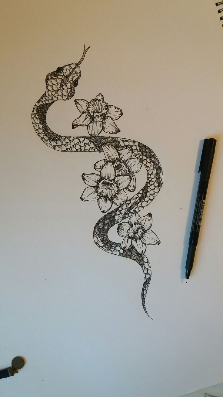 Snake with narcissus flowers ~ would be great spine tattoo.