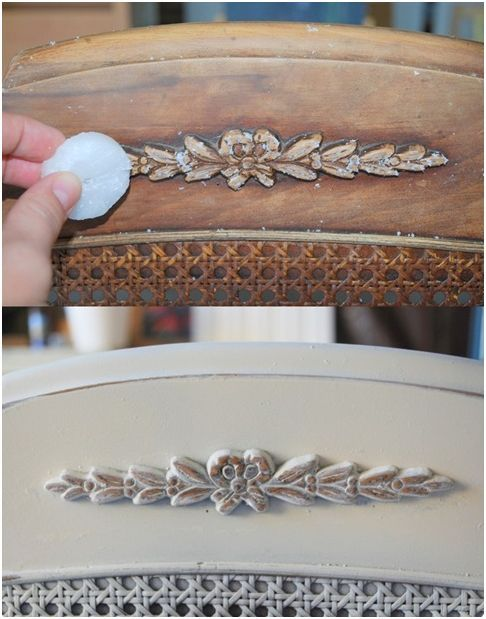 candle wax distress techniqueHandy trick: rub tea light candle over edges of chair wherever you want the paint to show through~it gives it that antiqued look. Tutorial.