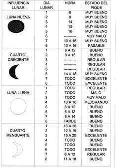 Semanario del Pescador :: Programa tu salida de pesca segùn la tabla lunar y horaria - Tabla lunar y horaria