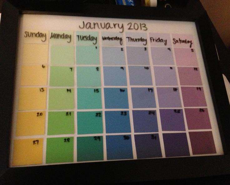Diy Calendar Paint Chips : Best ideas about paint chip calendar on pinterest