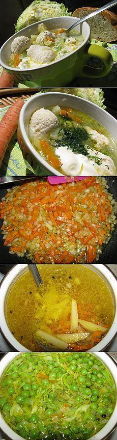 Овощной суп с клёцками из курицы.