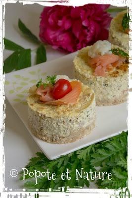 cheesecake au saumon, à la persillade et au chou fleur