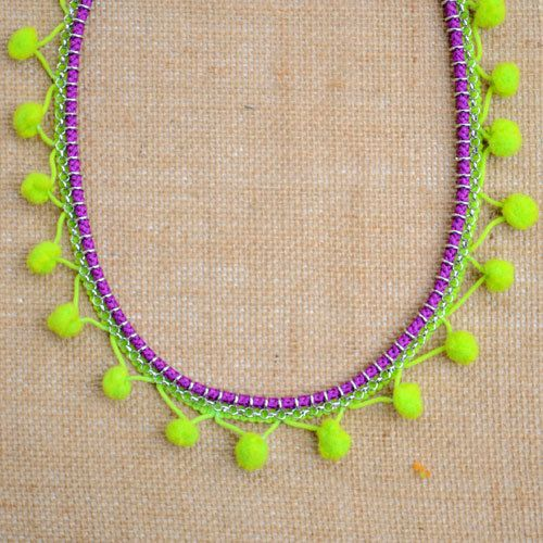 Neon Green and Purple Pom-pom Necklace on Etsy, $39.99 AUD